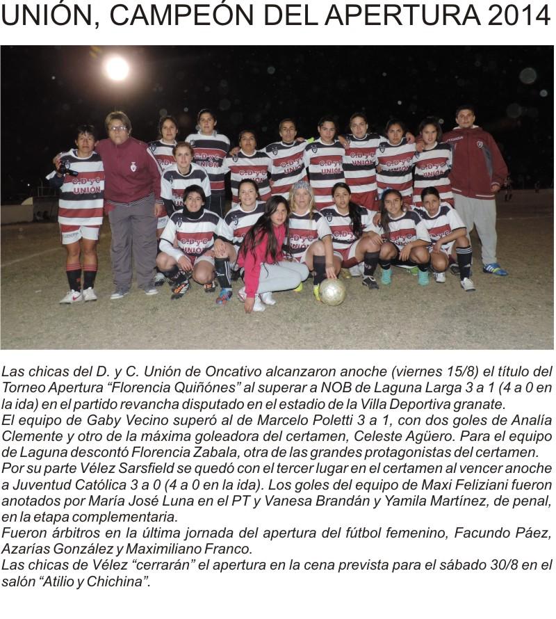 FF - UNIÓN CAMPEÓN AP 2014